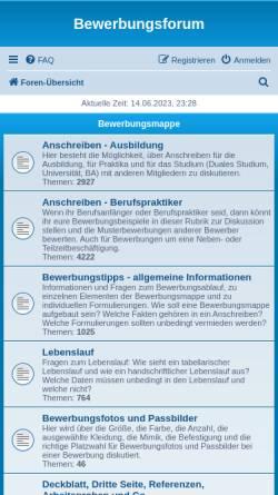 Vorschau der mobilen Webseite www.bewerbung-forum.de, Bewerbungsforum