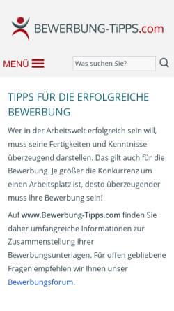 vorschau der mobilen webseite wwwbewerbung tippscom bewerbung tipps - Www Bewerbung Tipps Com