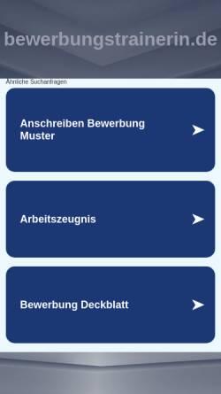 Vorschau der mobilen Webseite www.bewerbungstrainerin.de, Elke Zuchowski Bewerbungsberatung