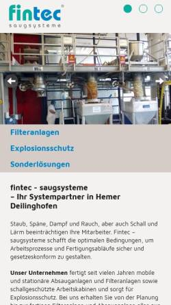 Vorschau der mobilen Webseite www.fin-tec.de, Fintec Saugsysteme, Inh. Dipl.-Ing. Armin Gebhard