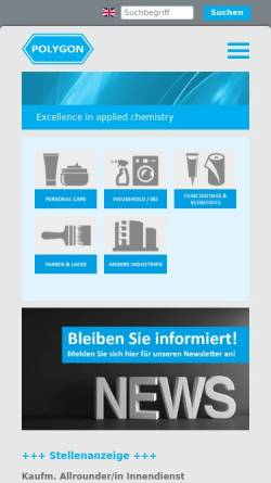 Vorschau der mobilen Webseite www.polygon.ch, Polygon Chemie AG