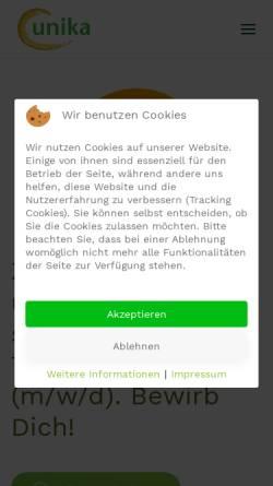 Vorschau der mobilen Webseite www.unika-ev.de, UNIKA - Union der deutschen Kartoffelwirtschaft e.V.