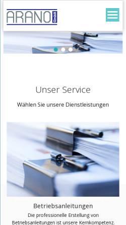 Vorschau der mobilen Webseite www.arano.de, Arano GmbH