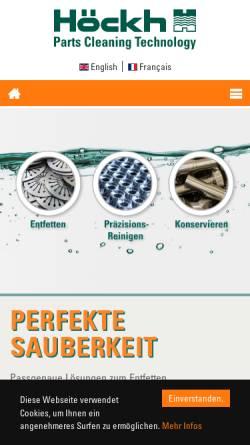 Vorschau der mobilen Webseite www.hoeckh.com, Höckh Metall-Reinigungsanlagen GmbH