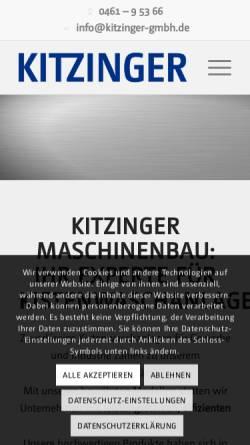 Vorschau der mobilen Webseite www.kitzinger-gmbh.de, Kitzinger Maschinenbau GmbH