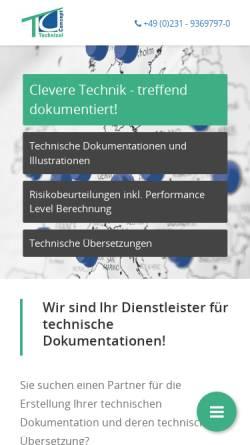 Vorschau der mobilen Webseite www.technical-concept.de, Technical Concept GmbH