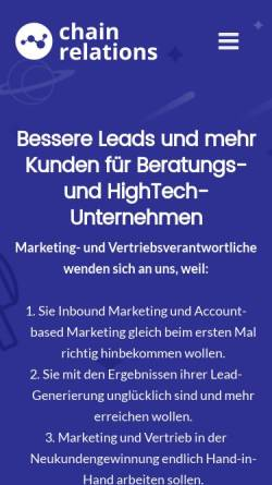 Vorschau der mobilen Webseite www.chainrelations.de, Chain Relations - Torsten Herrmann
