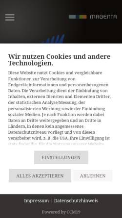 Vorschau der mobilen Webseite www.magenta-mannheim.de, Magenta Kommunikation, Design und Neue Medien GmbH