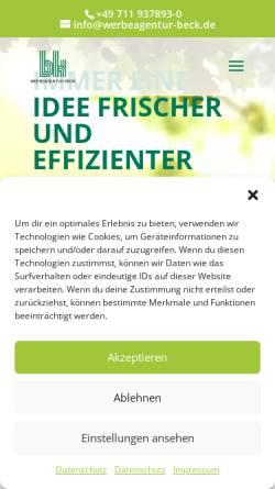 Vorschau der mobilen Webseite werbeagentur-beck.de, Werbeagentur Beck GmbH & Co. KG
