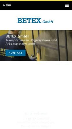Vorschau der mobilen Webseite www.betex-gmbh.de, Betex GmbH