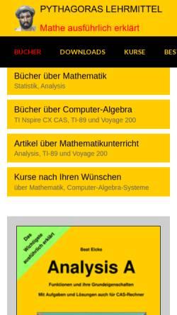 Vorschau der mobilen Webseite www.pythagoras.ch, Lehrmittel und Unterrichtsmaterialien für Taschenrechner