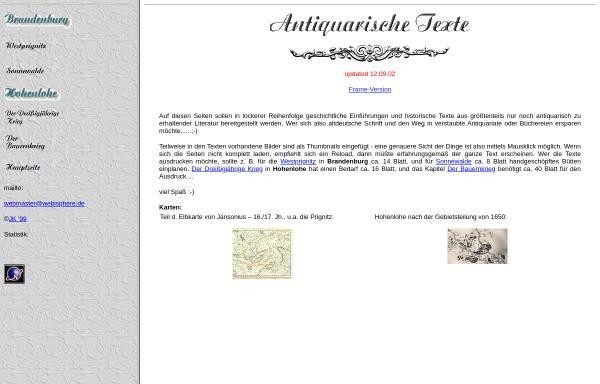 Vorschau von www.webisphere.de, Antiquarische Texte