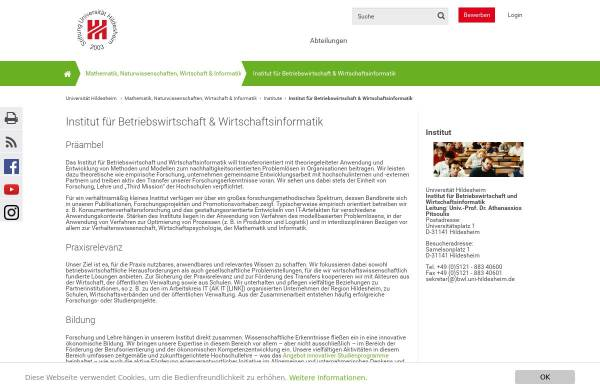 Vorschau von www.uni-hildesheim.de, Institut für Betriebswirtschaftslehre der Universität Hildesheim