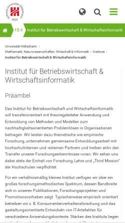 Vorschau der mobilen Webseite www.uni-hildesheim.de, Institut für Betriebswirtschaftslehre der Universität Hildesheim