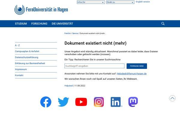 Vorschau von www.fernuni-hagen.de, Lehrstuhl für BWL, insbondere Unternehmensrechnung und Controlling