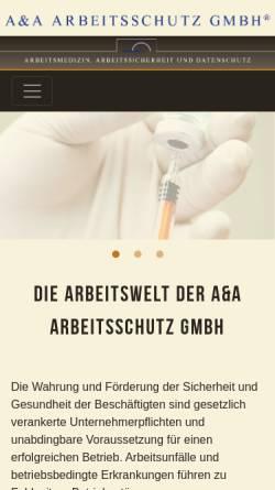 Vorschau der mobilen Webseite www.aa-arbeitsschutz.de, A & A Arbeitsschutz GmbH
