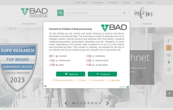 Vorschau von www.bad-gmbh.de, B-A-D Gesundheitsvorsorge und Sicherheitstechnik GmbH