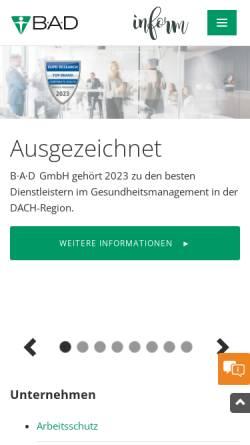 Vorschau der mobilen Webseite www.bad-gmbh.de, B-A-D Gesundheitsvorsorge und Sicherheitstechnik GmbH