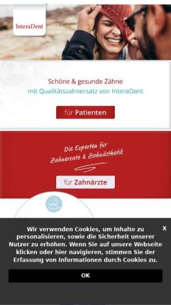 Vorschau der mobilen Webseite www.interadent.com, InteraDent Zahntechnik GmbH