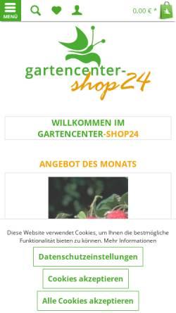Vorschau der mobilen Webseite www.gartencenter-shop24.de, Gartencenter, Baumschule Shop24