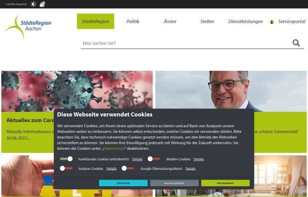 Vorschau von www.staedteregion-aachen.de, Zweckverband StädteRegion Aachen
