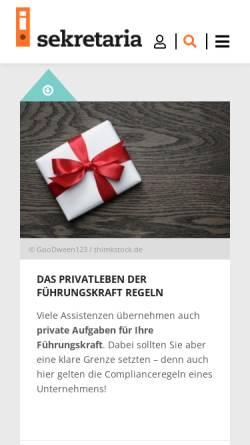 Vorschau der mobilen Webseite www.sekretaria.de, Sekretaria.de by WRS Verlag GmbH & Co. KG