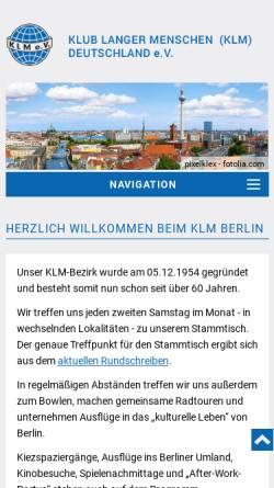 Vorschau der mobilen Webseite www.klm-berlin.de, Klub Langer Menschen Deutschland e.V. - Bezirk Berlin