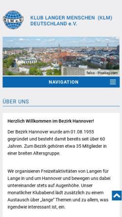 Vorschau der mobilen Webseite www.klm-hannover.de, Klub Langer Menschen Deutschland e.V. - Bezirk Hannover