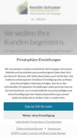 Vorschau der mobilen Webseite www.kerstinschuster.de, Kerstin Emmy Schuster