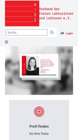Vorschau der mobilen Webseite vfll.de, Verband der Freien Lektorinnen und Lektoren (VFLL)