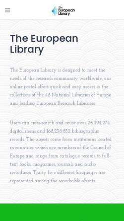 Vorschau der mobilen Webseite www.theeuropeanlibrary.org, The European Library
