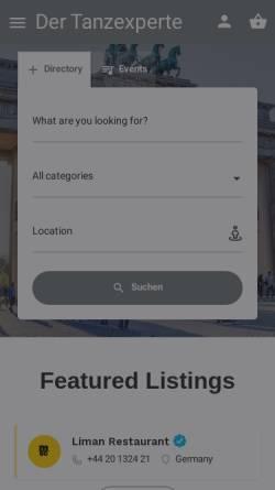 Vorschau der mobilen Webseite www.tanzeninberlin.de, Berliner Tanzportal