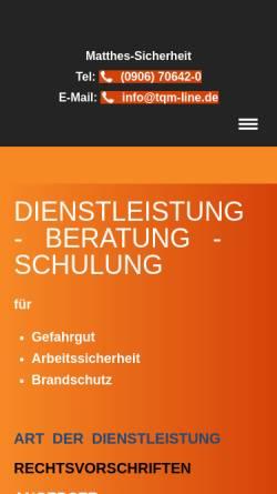 Vorschau der mobilen Webseite www.matthes-sicherheit.de, Matthes Sicherheit, Inh. Günter Matthes