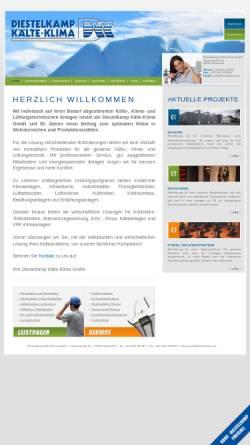 Vorschau der mobilen Webseite www.diestelkamp.de, Diestelkamp Kälte-Klima GmbH