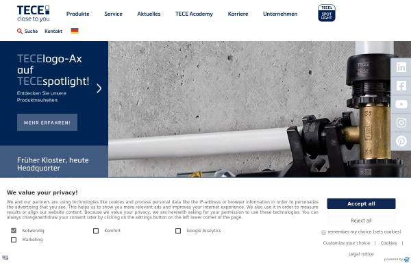 Vorschau von www.tece.de, TECE GmbH & Co. KG