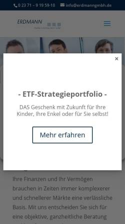 Vorschau der mobilen Webseite www.erdmanngmbh.de, Erdmann Financial Management GmbH