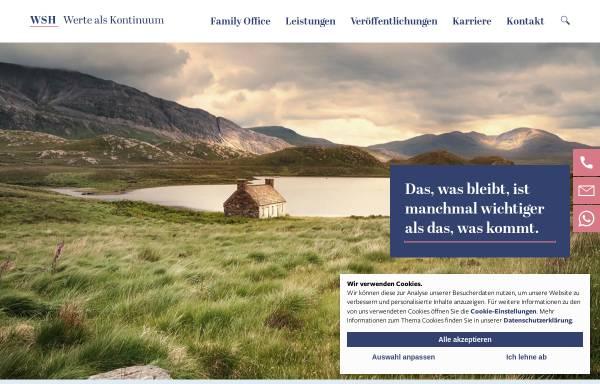 Vorschau von www.wsh-family-office.de, WSH Deutsche Vermögenstreuhand - Gesellschaft für Vermögensstrukturberatung und Family Office mbH
