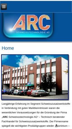 Vorschau der mobilen Webseite www.arc-technologie.de, ARC Schweisstechnologie AG