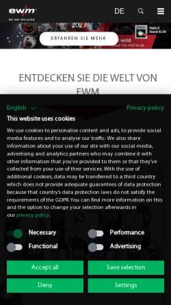 Vorschau der mobilen Webseite ewm.de, EWM HIGHTEC Welding GmbH