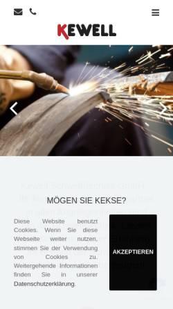 Vorschau der mobilen Webseite www.kewell-schweisstechnik.de, Kewell Schweißtechnik GmbH