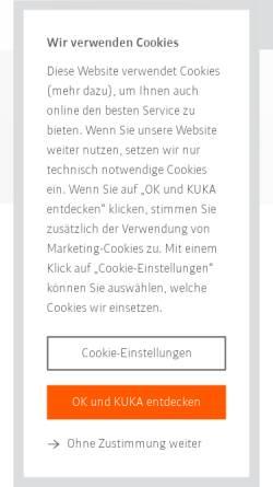 Vorschau der mobilen Webseite www.kuka.de, KUKA Schweißanlagen GmbH und KUKA Roboter GmbH