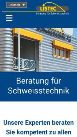 Vorschau der mobilen Webseite www.listec.ch, Listec Schweisstechnik AG