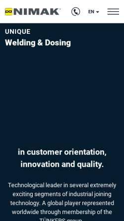 Vorschau der mobilen Webseite www.nimak.de, NIMAK Schweißmaschinen