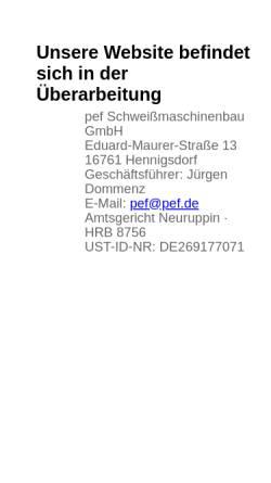 Vorschau der mobilen Webseite www.pef.de, PEF-Hennigsdorf Dommenz & Sielaff oHG