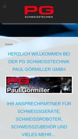 Vorschau der mobilen Webseite www.pg-schweisstechnik.de, PG Schweisstechnik Paul Görmiller GmbH