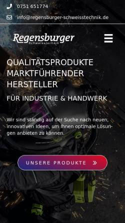 Vorschau der mobilen Webseite www.regensburger-schweisstechnik.de, Regensburger Schweißtechnik, Inh. Ludwig Regensburger