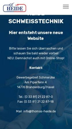 Vorschau der mobilen Webseite www.thomas-heide.de, Thomas Heide