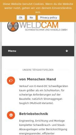 Vorschau der mobilen Webseite www.weldcam.de, Weldcam Schweisstechnik GmbH