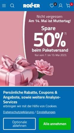 Vorschau der mobilen Webseite www.roller.de, Roller GmbH & Co. KG