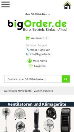 Vorschau der mobilen Webseite www.bigorder.de, BigOrder GmbH
